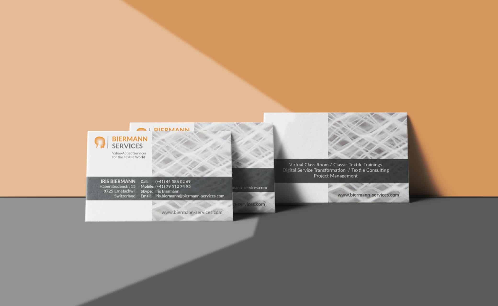 hilledesign Portfolio Biermann Services Visitenkarten