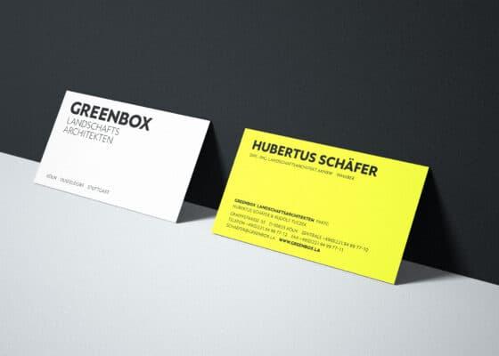 hilledesign Portfolio GREENBOX Visitenkarten und Logodesign