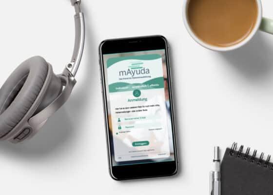 hilledesign Portfolio mAyuda login-Bildschirm