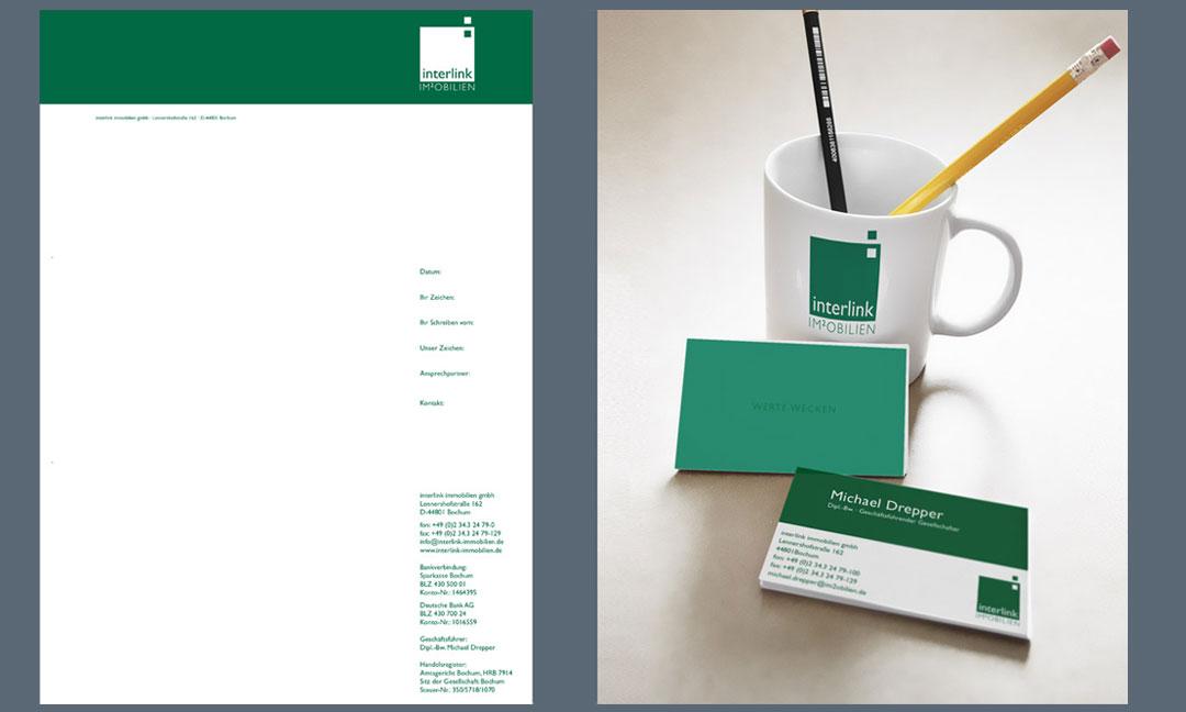 hilledesign Portfolio interlink Immobilien Corporate Design