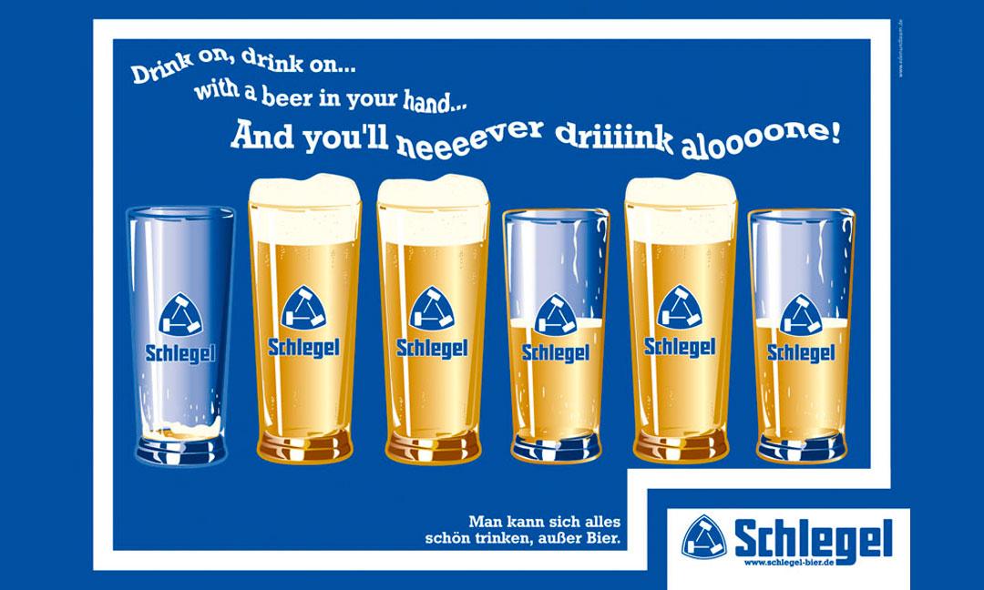 hilledesign Portfolio Schlegel Motiv Never drink alone
