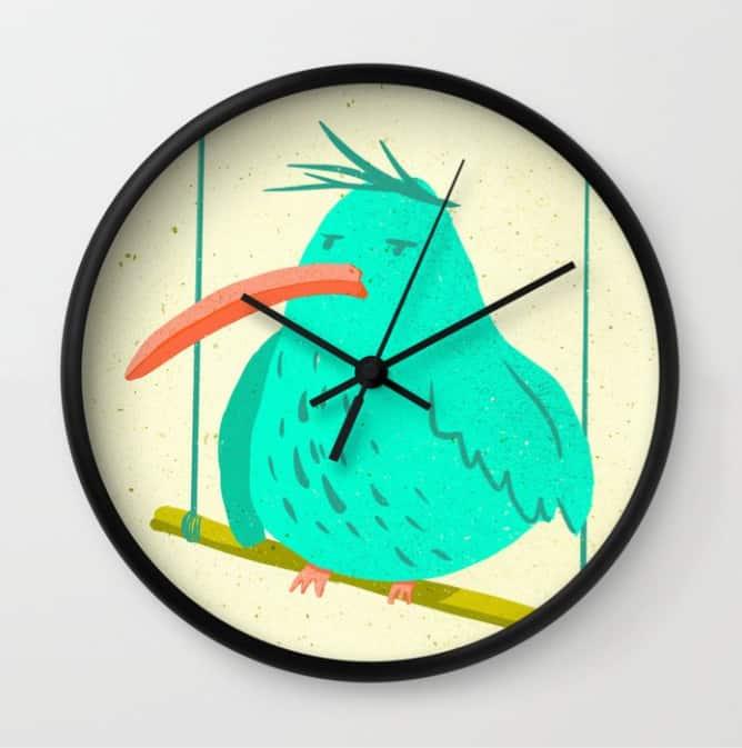 hilledesign-illustration-annoyed-animals-bird-clock