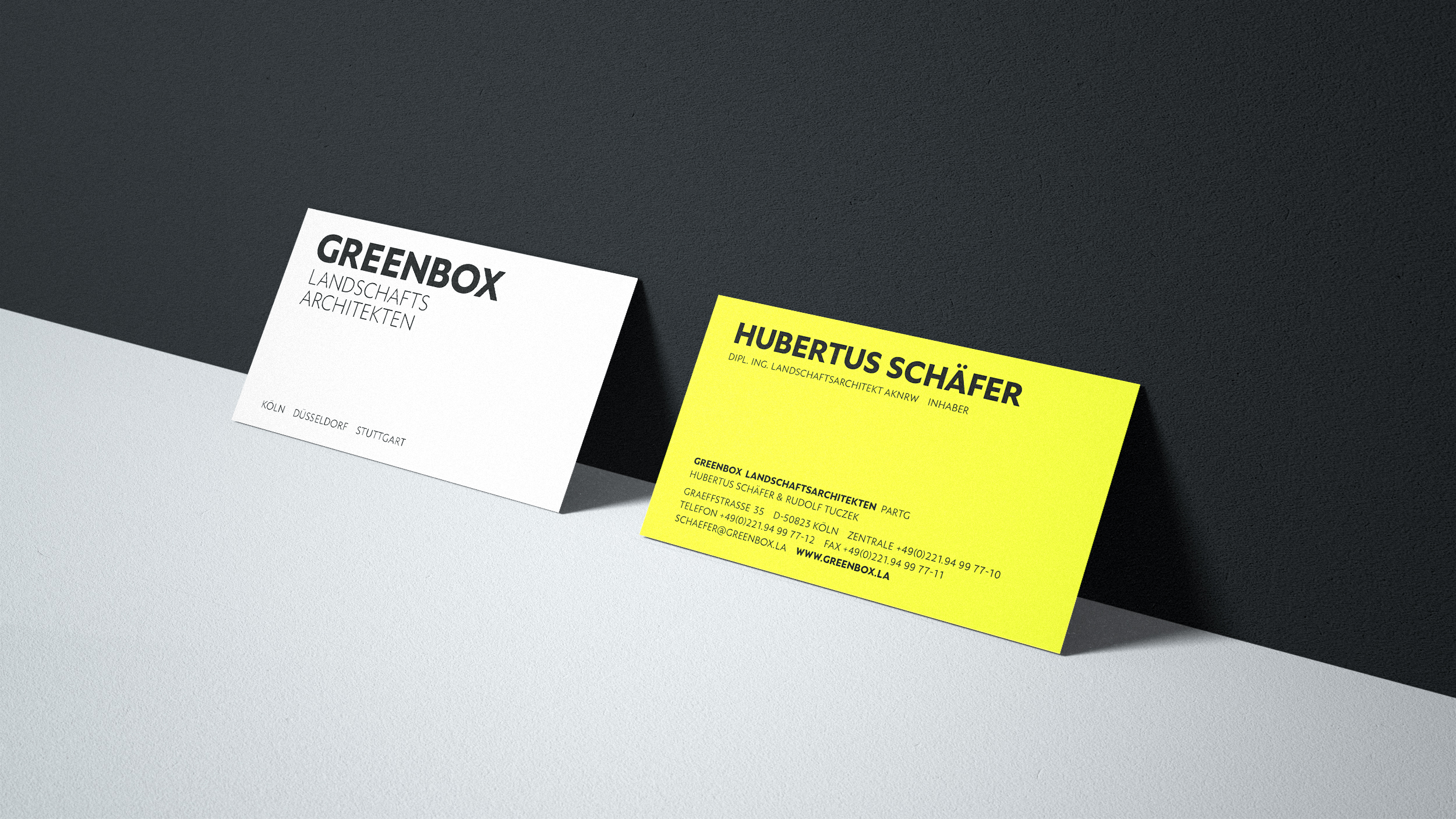 hilledesign Portfolio GREENBOX Landschaftsarchitekten Grafik Design Visitenkarten